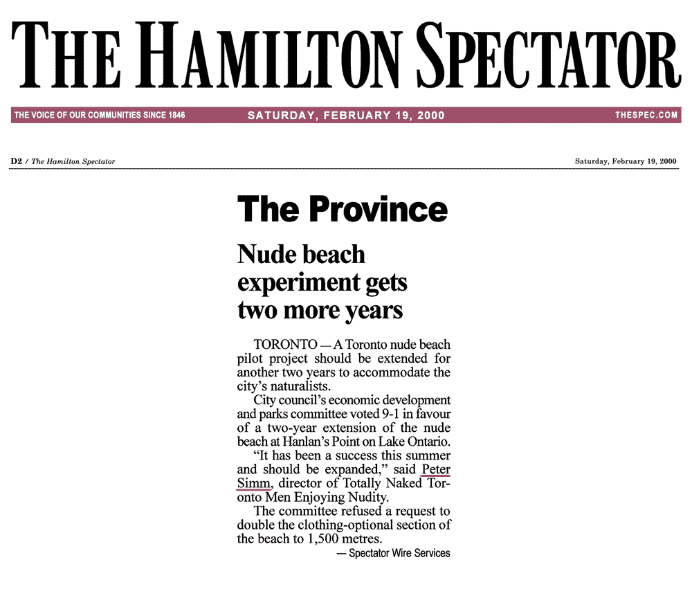 Hamilton Spectator 2000-02-19 - Committee OKs renewing Hanlan's Point CO-zone